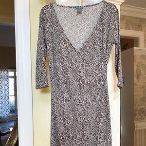 Ann Taylor brown & beige leaf design dress Sz 8P